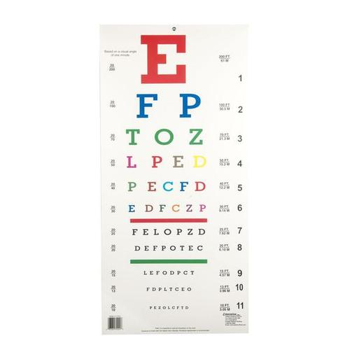 Snellen Colored Eye Chart, 1018324 [W58500], Augenmodelle